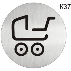 """Інформаційна табличка - піктограма """"Дитячі коляски, стоянка для колясок, візків"""" d 100 мм"""