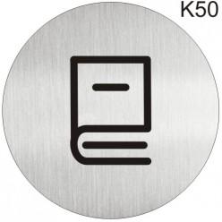 """Інформаційна табличка - піктограма """"Бібліотека, читальна зала"""" d 100 мм"""